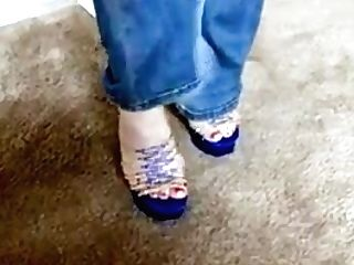 Ginger-haired Gilf Taunts In Jeans