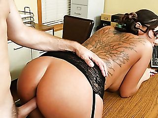 Nasty Dark-haired Bitch With Faux Titties Sydney Leathers Banged Hard