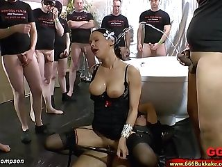 Dirty Brown-haired Whore Used As A Wc In A Thick Group Sex