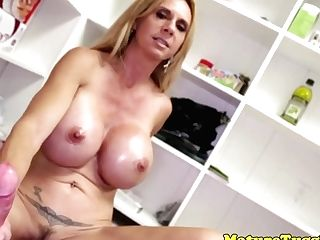 Huge-titted Mummy Beauty Pulling Hard Shaft Point Of View