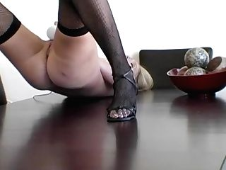 Vibrater On A Table Skinny Blonde