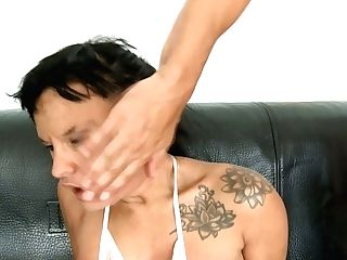 Horny And Bizarre Black-haired Mom Ball-gagged And Stepped On The Face