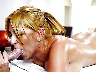 Jazmyn Is Giant Boobed Blonde Cougar Who Turns Rubdown Into Rear End Fuck